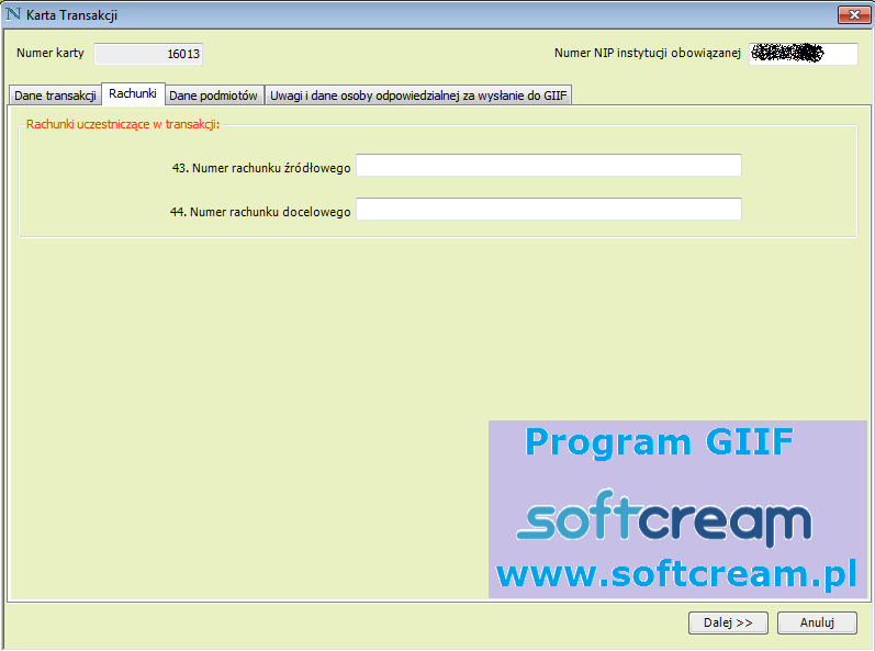 Ekran Program GIIF karta transakcji konta bankowe
