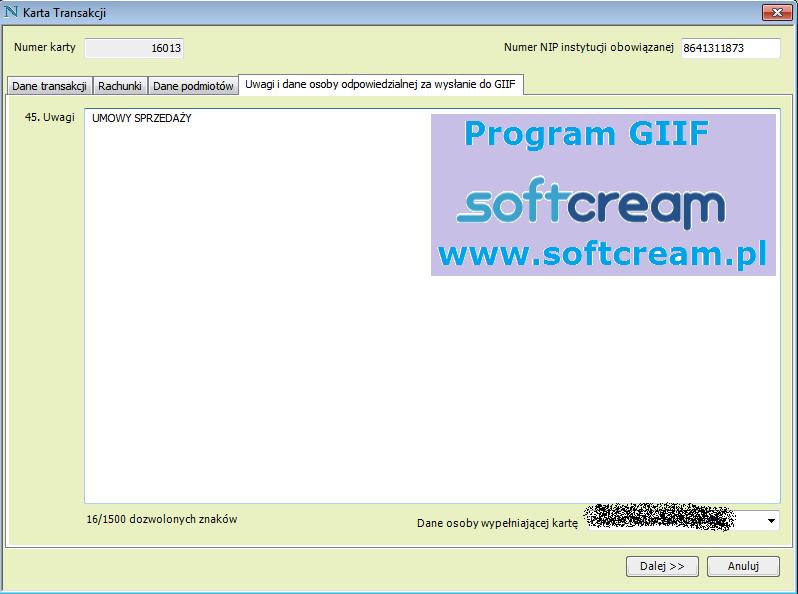 Ekran Program GIIF karta transakcji uwagi